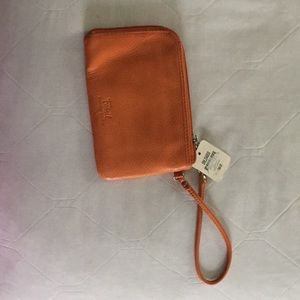 fossil clutch genuine leather